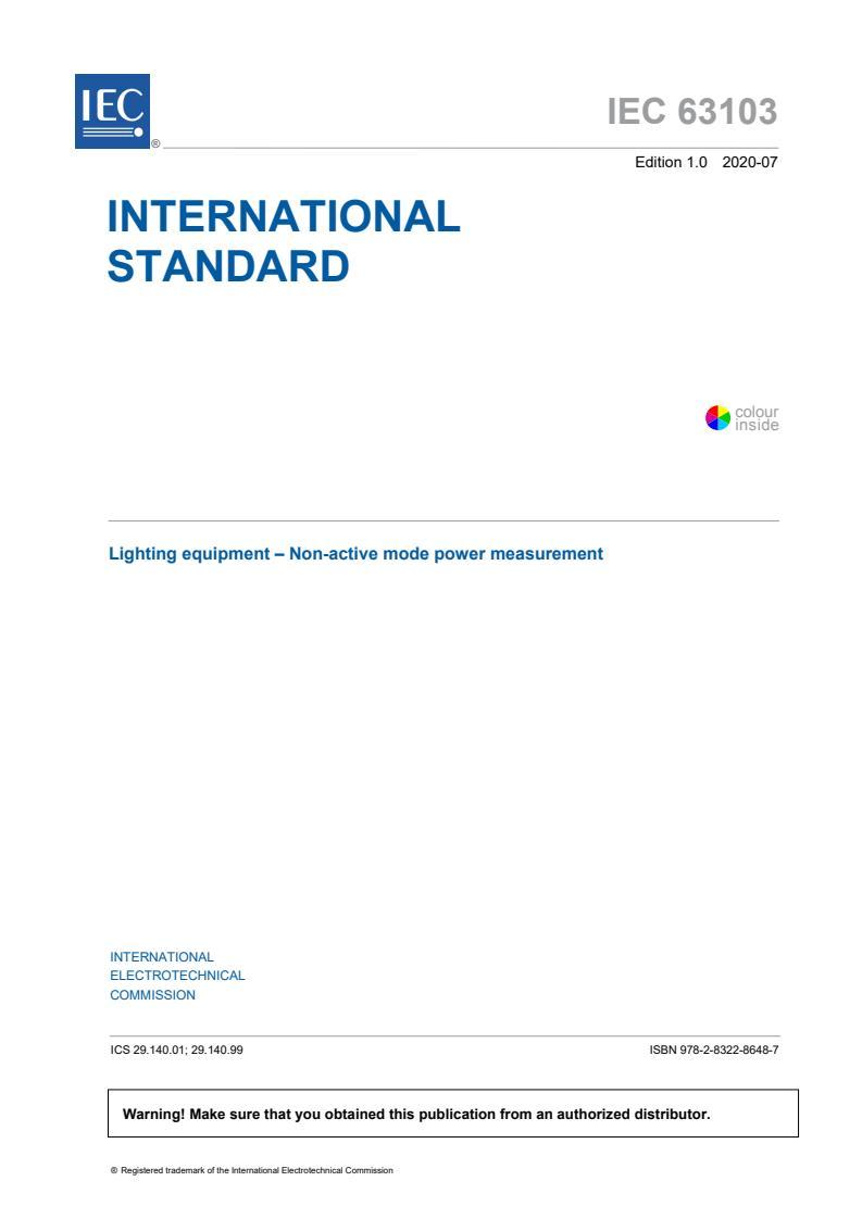 IEC 63103:2020 - Lighting equipment - Non-active mode power measurement