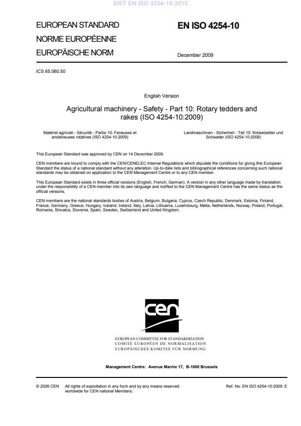 SIST EN ISO 4254-10:2010