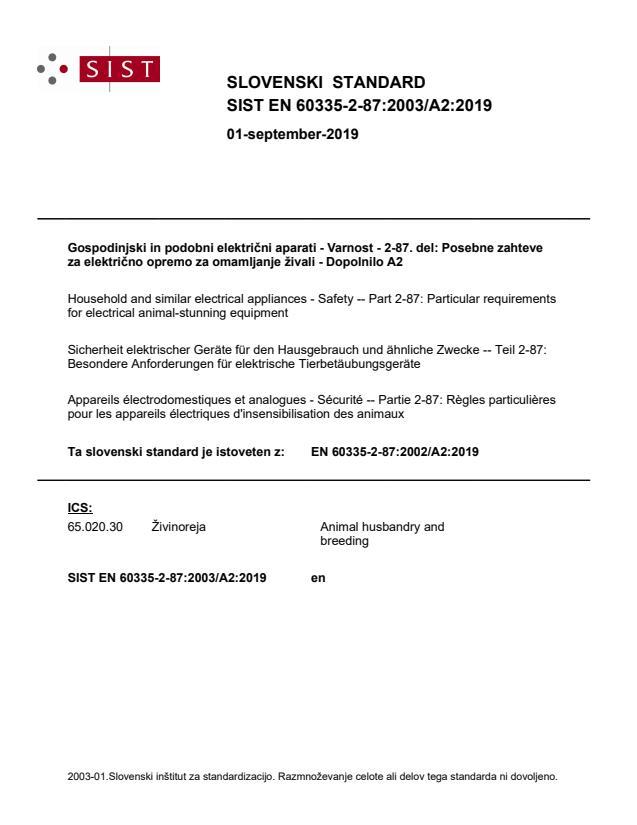 SIST EN 60335-2-87:2003/A2:2019