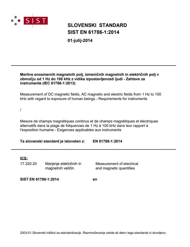 SIST EN 61786-1:2014