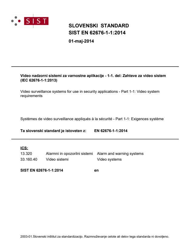 SIST EN 62676-1-1:2014 - natisnjeno za čitalnico