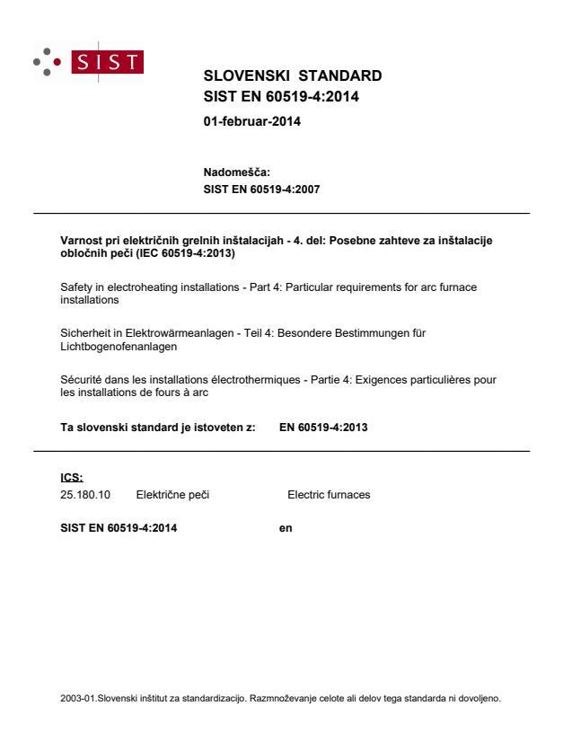 SIST EN 60519-4:2014