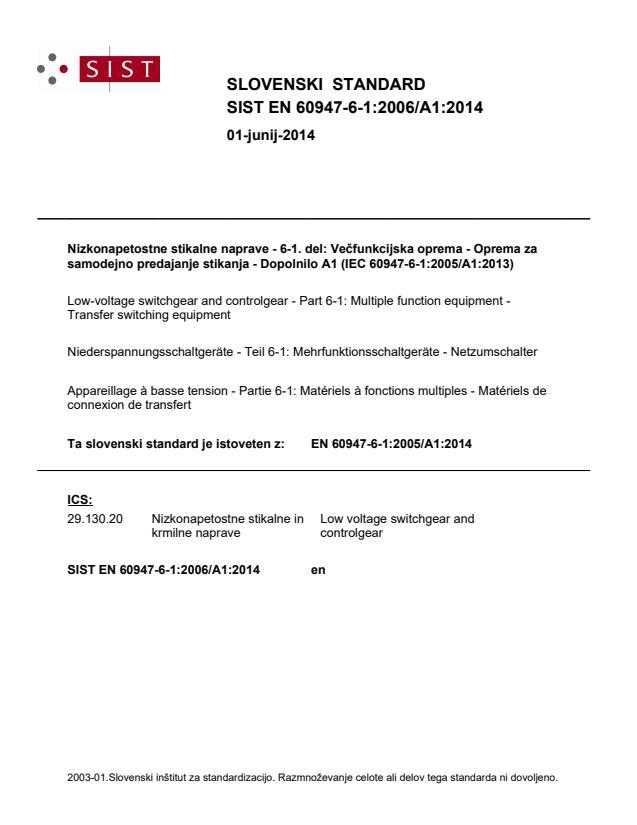 SIST EN 60947-6-1:2006/A1:2014