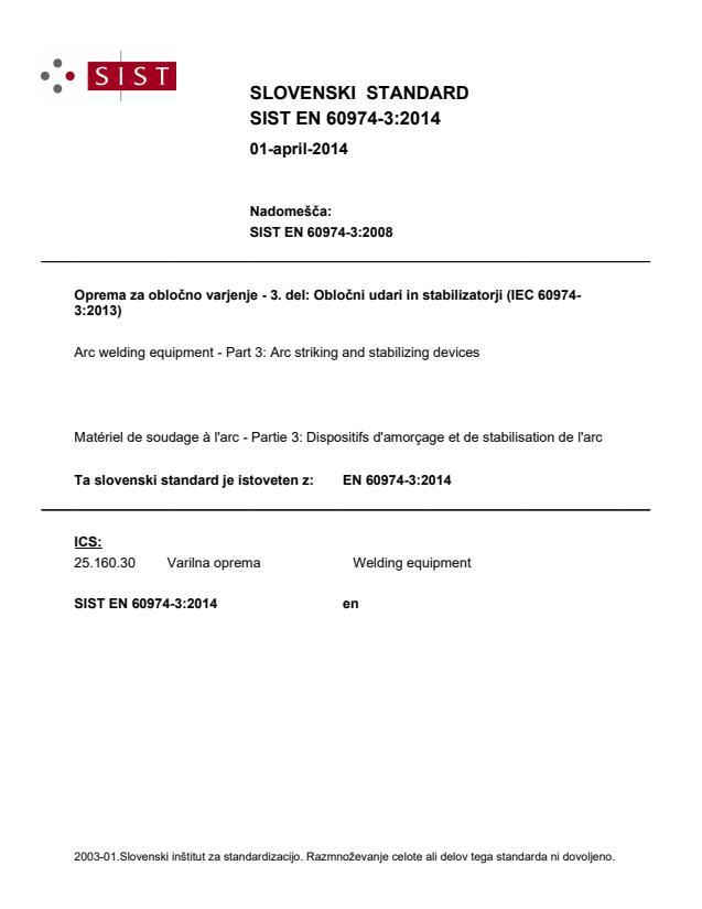 SIST EN 60974-3:2014