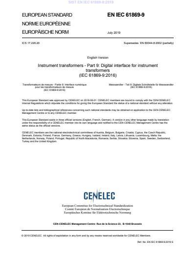SIST EN IEC 61869-9:2019