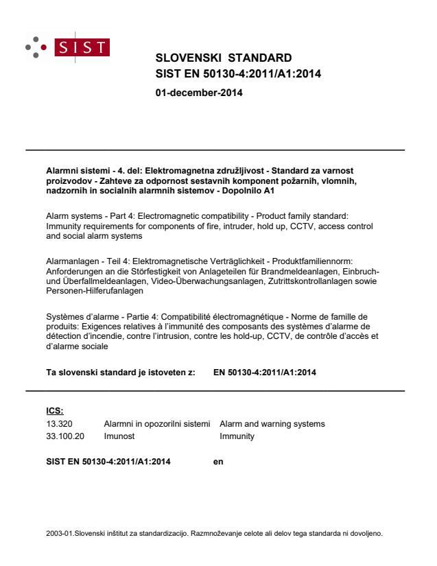 SIST EN 50130-4:2011/A1:2014