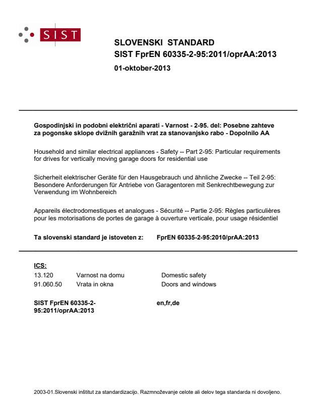 FprEN 60335-2-95:2011/oprAA:2013
