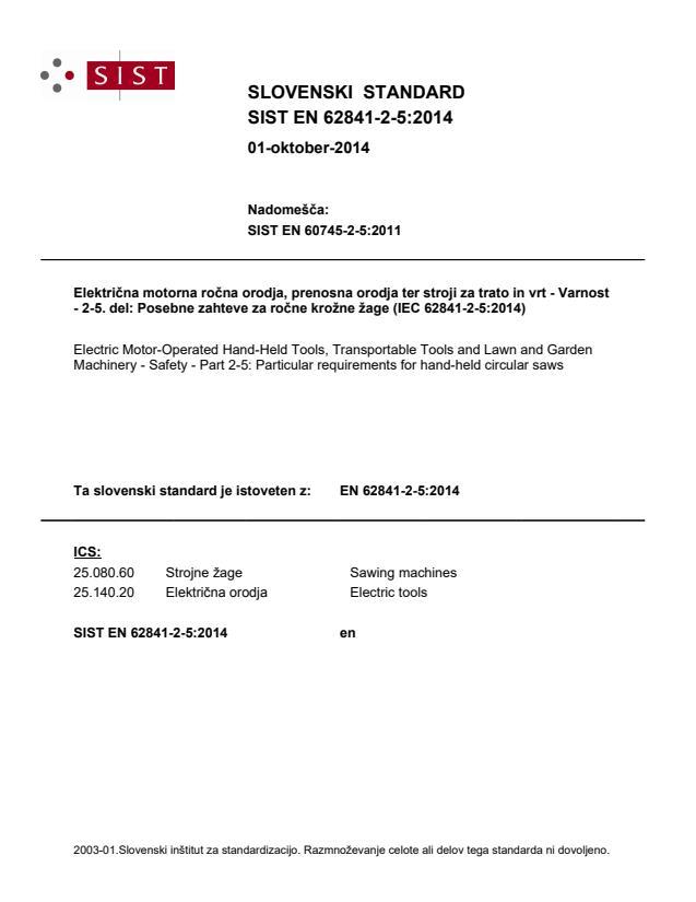 SIST EN 62841-2-5:2014