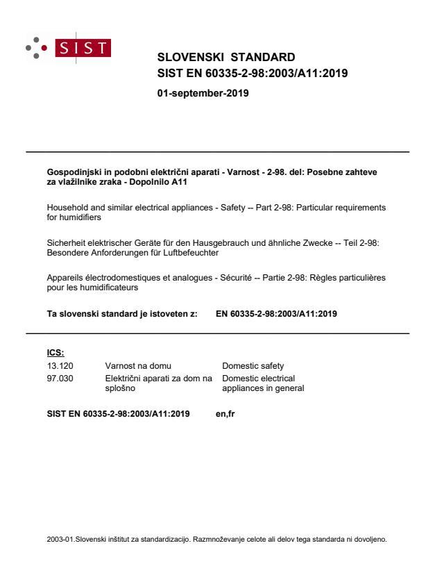 SIST EN 60335-2-98:2003/A11:2019