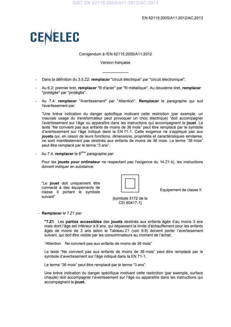 EN 62115:2005/A11:2012/AC:2013