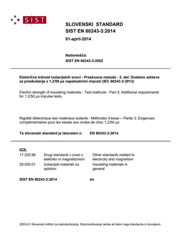 SIST EN 60243-3:2014