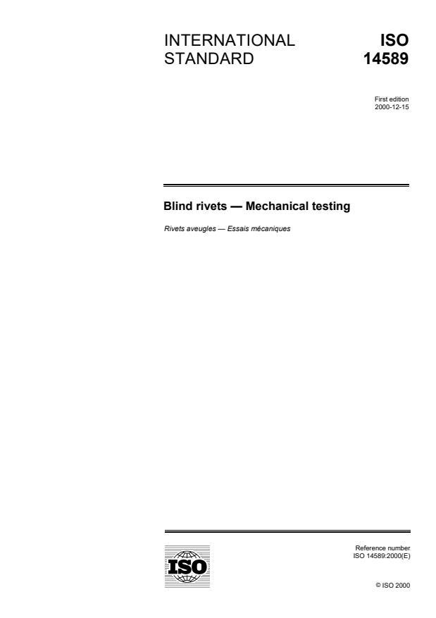 ISO 14589:2000 - Blind rivets -- Mechanical testing