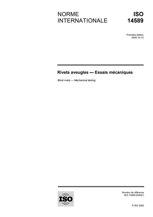 ISO 14589:2000 - Rivets aveugles -- Essais mécaniques