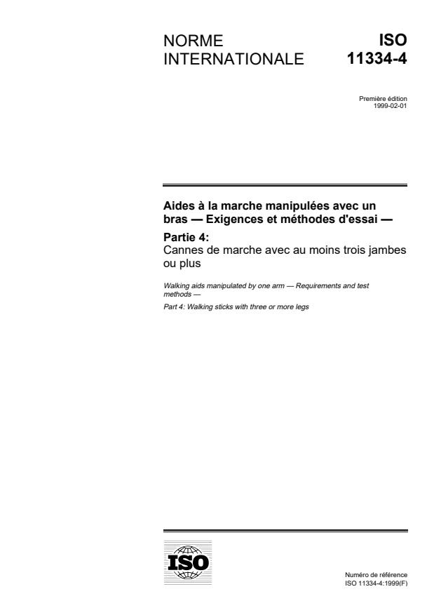 ISO 11334-4:1999 - Aides a la marche manipulées avec un bras -- Exigences et méthodes d'essai