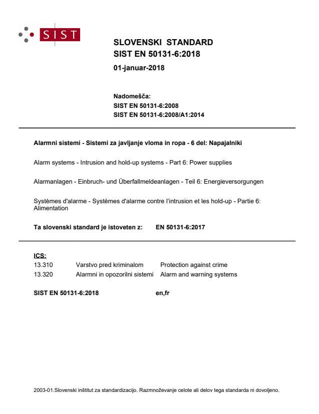 SIST EN 50131-6:2018