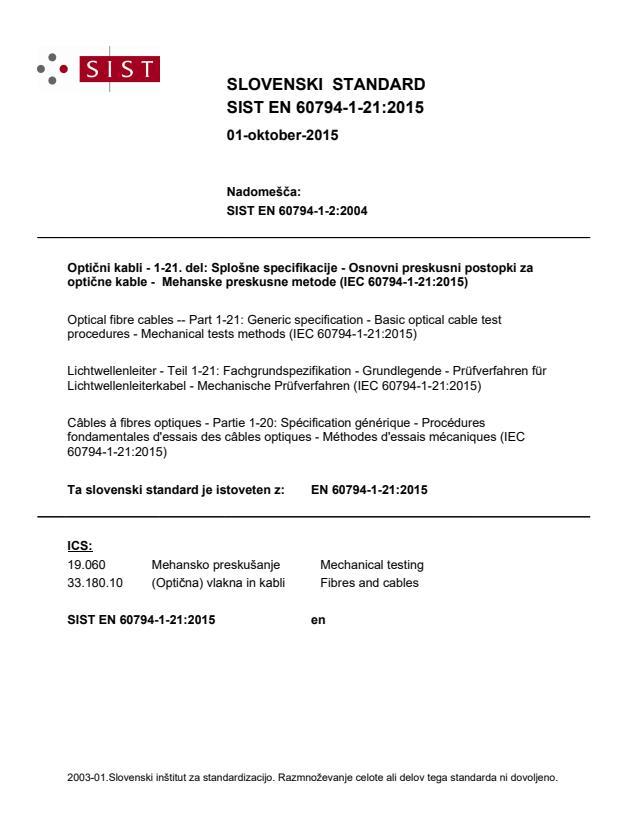 SIST EN 60794-1-21:2015 - BARVE