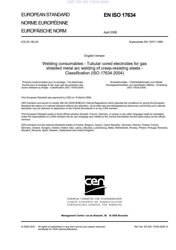EN ISO 17634:2006 - Welding consumables - Tubular cored ...
