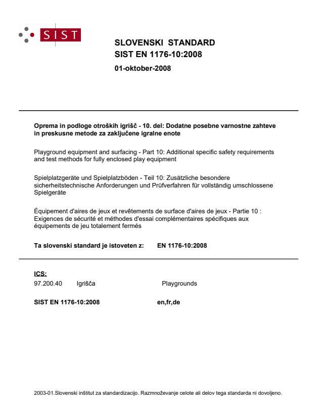 SIST EN 1176-10:2008 (DE)