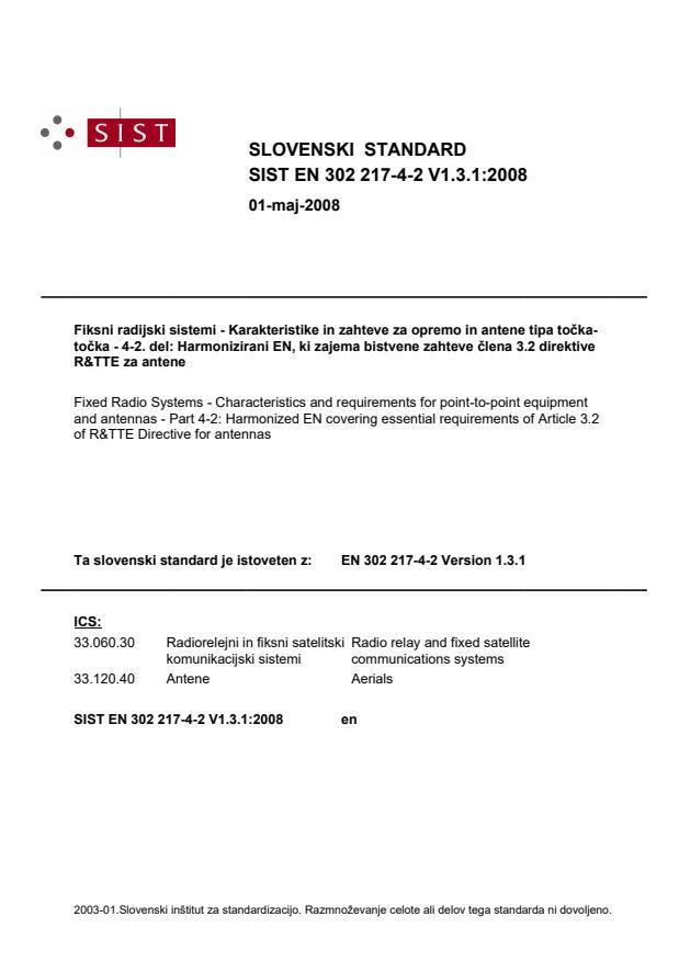 SIST EN 302 217-4-2 V1.3.1:2008