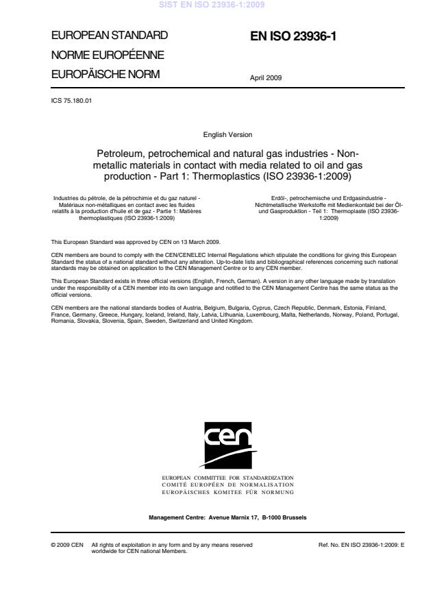 SIST EN ISO 23936-1:2009