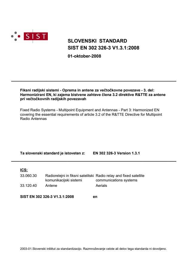 SIST EN 302 326-3 V1.3.1:2008