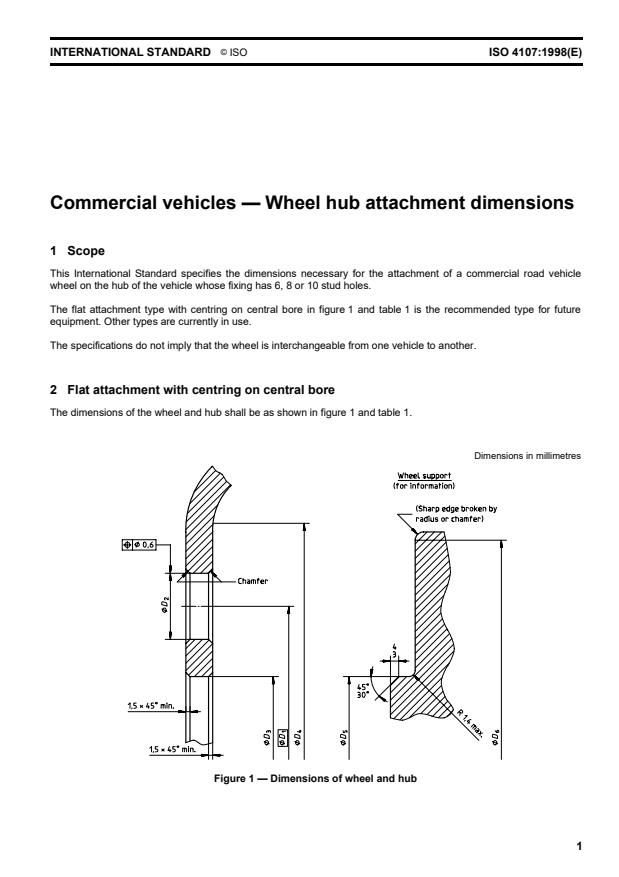 ISO 4107:1998 - Commercial vehicles -- Wheel hub attachment dimensions