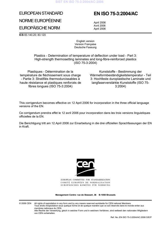 SIST EN ISO 75-3:2004/AC:2006