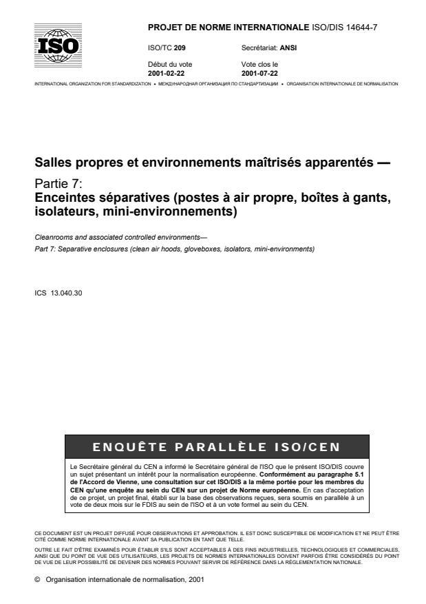 ISO/DIS 14644-7