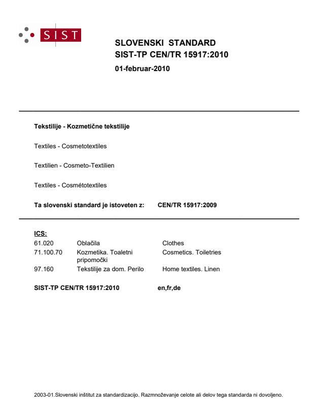 CEN/TR 15917:2009