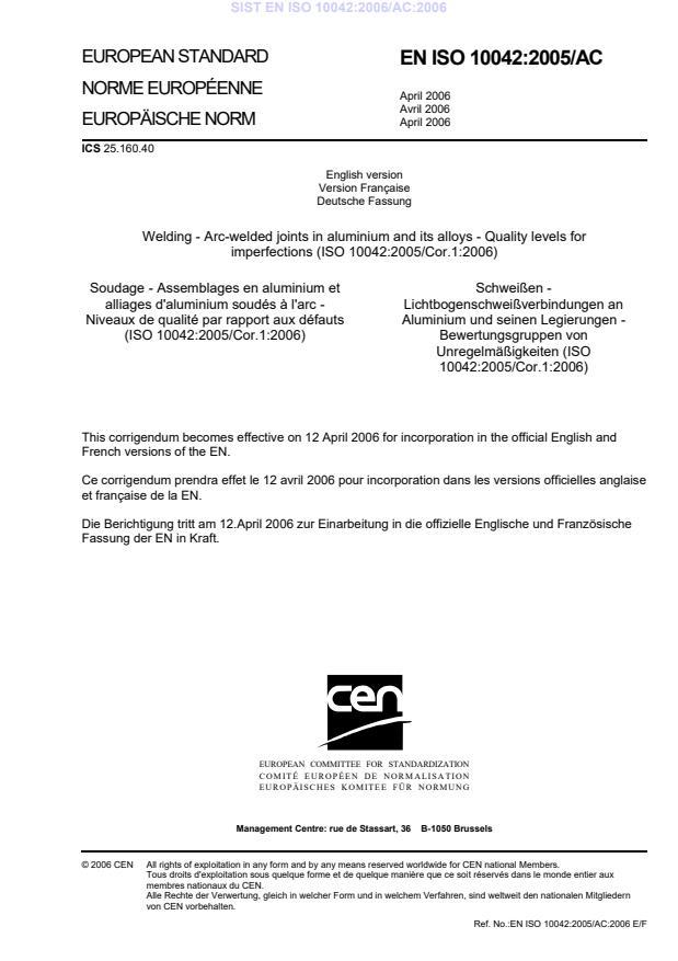 SIST EN ISO 10042:2006/AC:2006