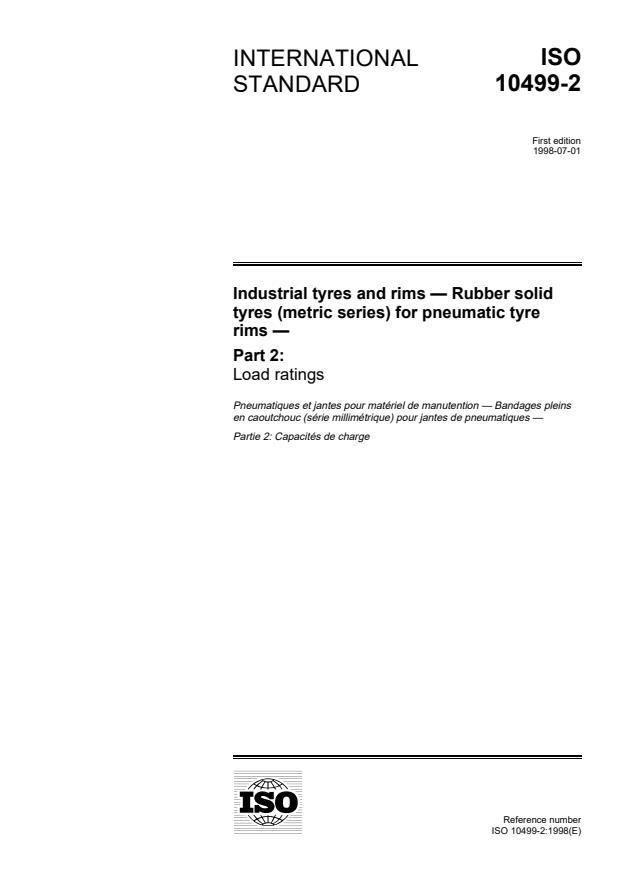 ISO 10499-2:1998 - Industrial tyres and rims -- Rubber solid tyres (metric series) for pneumatic tyre rims