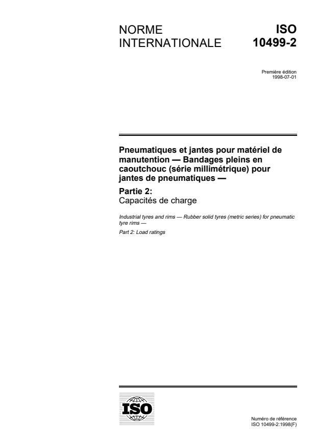 ISO 10499-2:1998 - Pneumatiques et jantes pour matériel de manutention -- Bandages pleins en caoutchouc (série millimétrique) pour jantes de pneumatiques