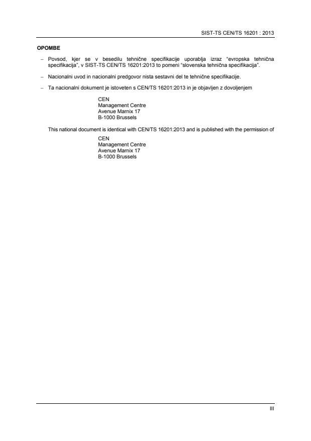 SIST-TS CEN/TS 16201:2013
