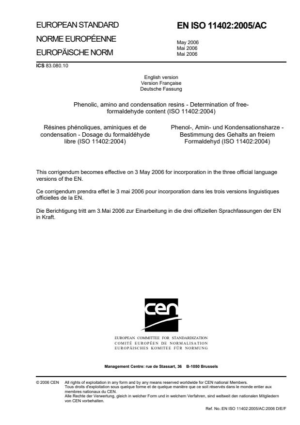 SIST EN ISO 11402:2005/AC:2006