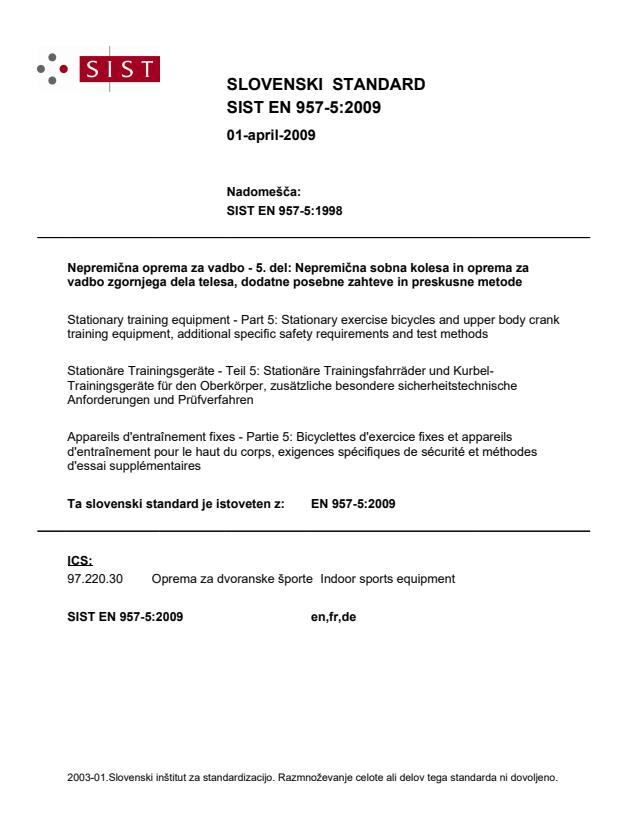 EN 957-5:2009