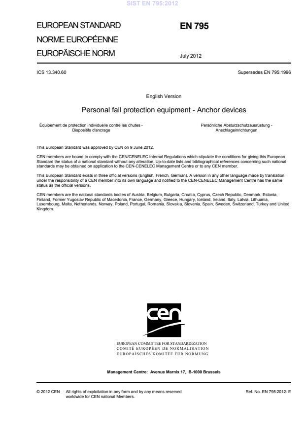 EN 795:2012 - natisnjeno za čitalnico