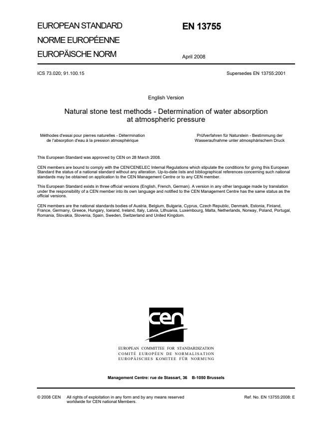 EN 13755:2008 - natisnjeno za čitalnico
