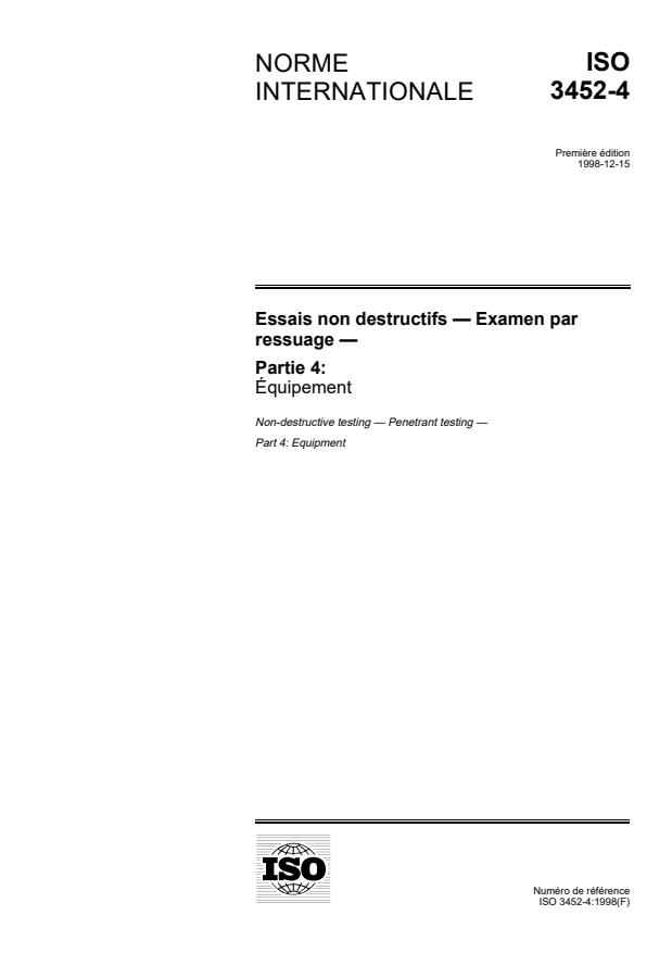 ISO 3452-4:1998 - Essais non destructifs -- Examen par ressuage