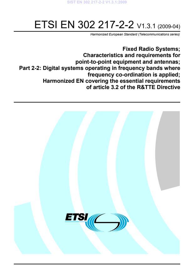 SIST EN 302 217-2-2 V1.3.1:2009