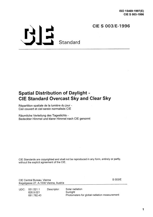 ISO 15469:1997 - Spatial distribution of daylight -- CIE standard overcast sky and clear sky