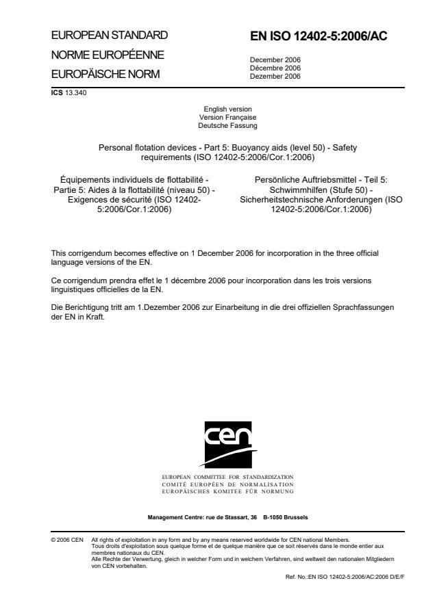 SIST EN ISO 12402-5:2006/AC:2007