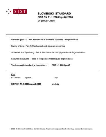 SIST EN 71-1:2006/oprA6:2008
