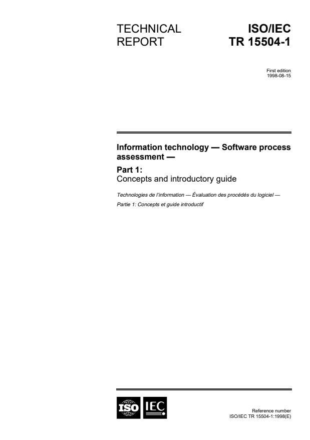 ISO/IEC TR 15504-1:1998 - Information technology -- Software process assessment