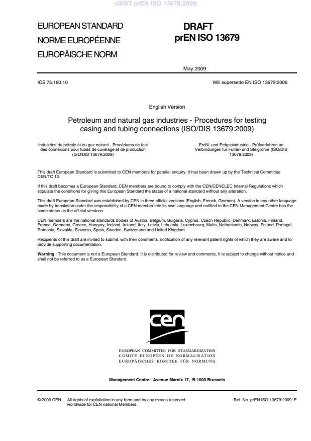 oSIST prEN ISO 13679:2009