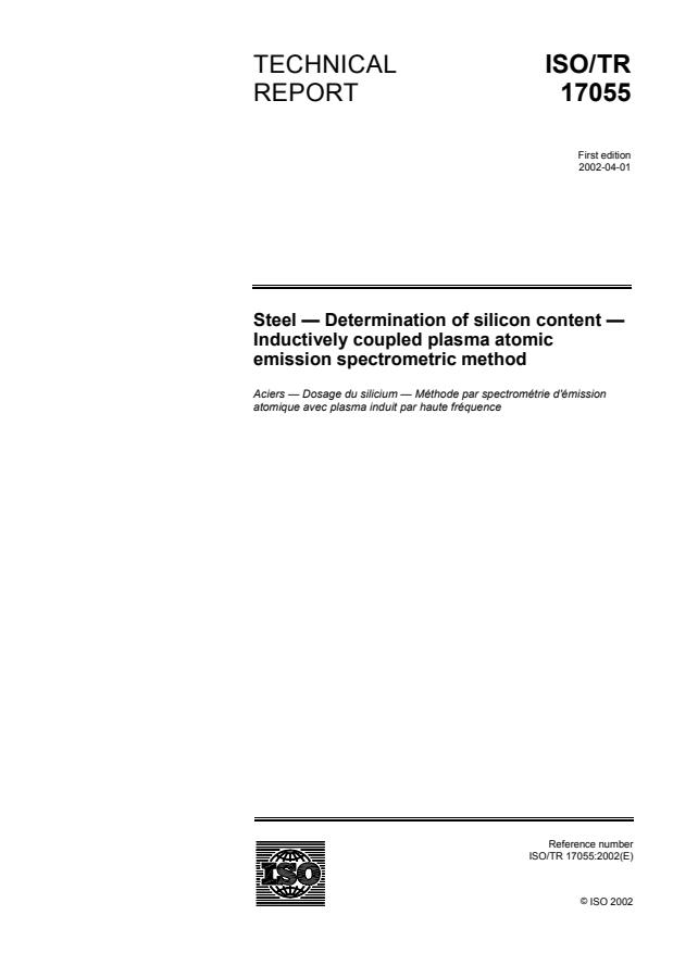 ISO/TR 17055:2002 - Steel -- Determination of silicon content -- Inductively coupled plasma atomic emission spectrometric method