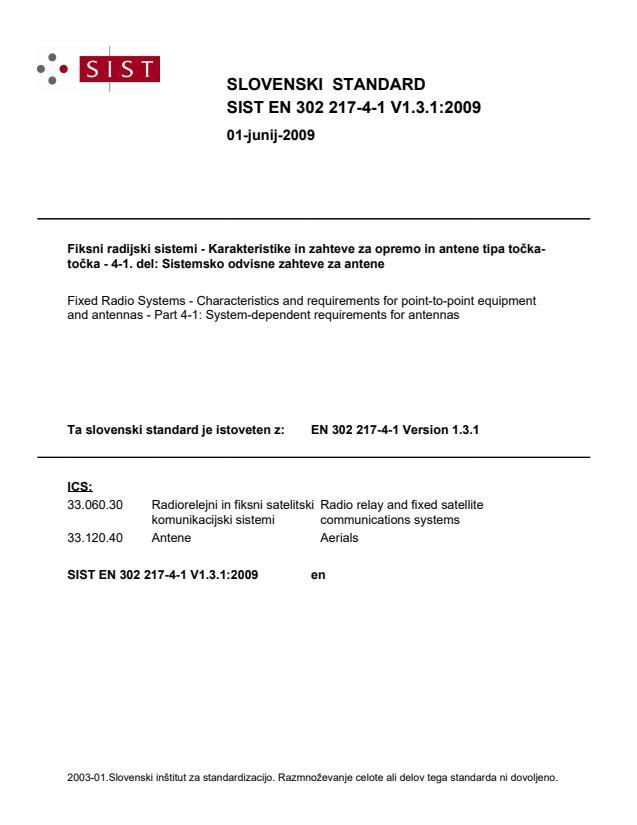 SIST EN 302 217-4-1 V1.3.1:2009