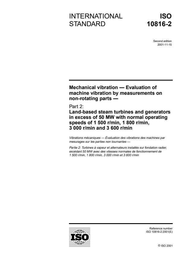 ISO 10816-2:2001 - Mechanical vibration -- Evaluation of machine vibration by measurements on non-rotating parts