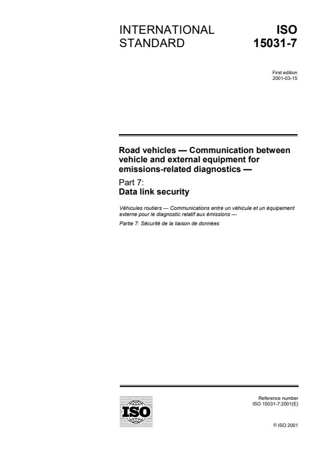 ISO 15031-7:2001 - Road vehicles -- Communication between vehicle and external equipment for emissions-related diagnostics