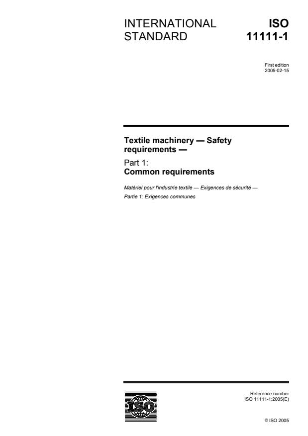 ISO 11111-1:2005 - Textile machinery -- Safety requirements