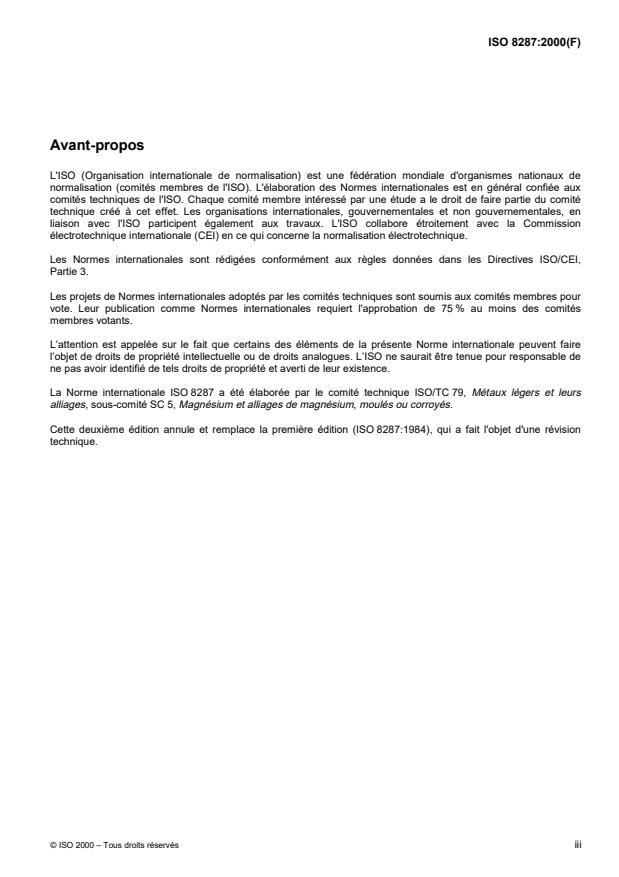 ISO 8287:2000 - Magnésium et alliages de magnésium -- Magnésium non allié -- Composition chimique